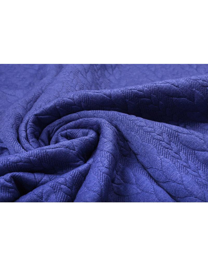 Gestrickte Kabel Stoff Tricot Kobaltblau Melange