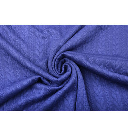 Knitted Cable Fabric Tricot Cobalt Blue Melange