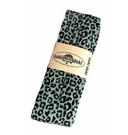 Oaki Doki Jersey Schrägband Pantherdruck Altgrün