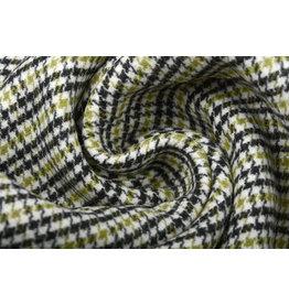 Woven Woolen Fabric Fine Checkered Green
