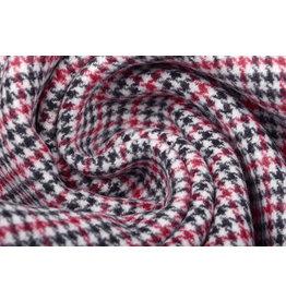 Woven Woolen Fabric Fine Checkered Red