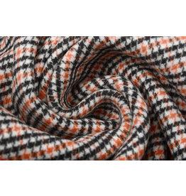 Woven Woolen Fabric Fine Checkered Orange