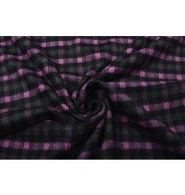 Woven Woolen Fabric Checkered Pink