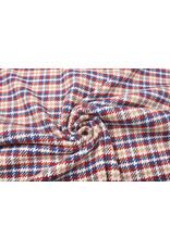 Woven Woolen Fabric Checkered Red Blue