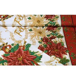 Christmas Fabric Music Red