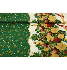 Christmas Fabric Winter Scene Green