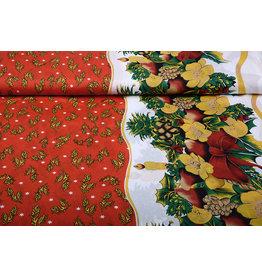 Christmas Fabric Winter Scene Red