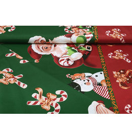 Christmas Fabric Santa Candy Cane Green