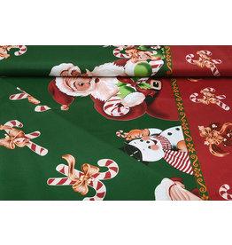 Weihnachtsstoff Weihnachtsmann Zuckerstange Grün