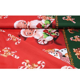 Weihnachtsstoff Weihnachtsmann Zuckerstange Rot