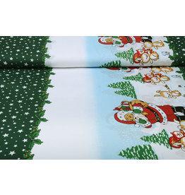 Weihnachtsstoff Weihnachtsmann Tiere Grün