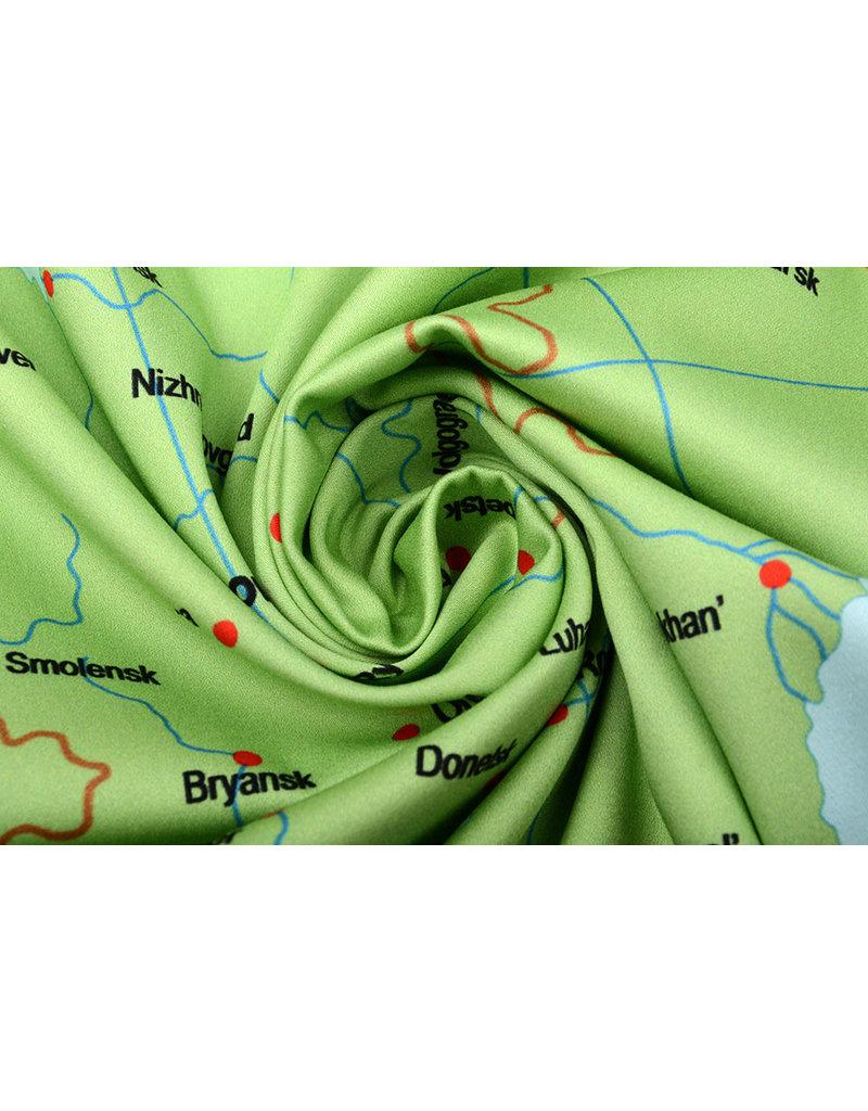 Digital Panel Stretch Baumwolle Karte Europa Blau