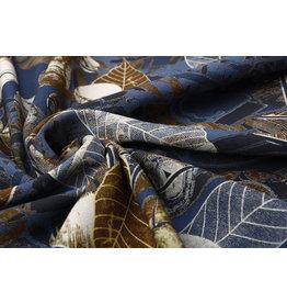 100% Viskose Blätter Blau