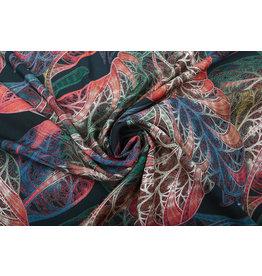 100% Viskose Laufradblatt Multicolor