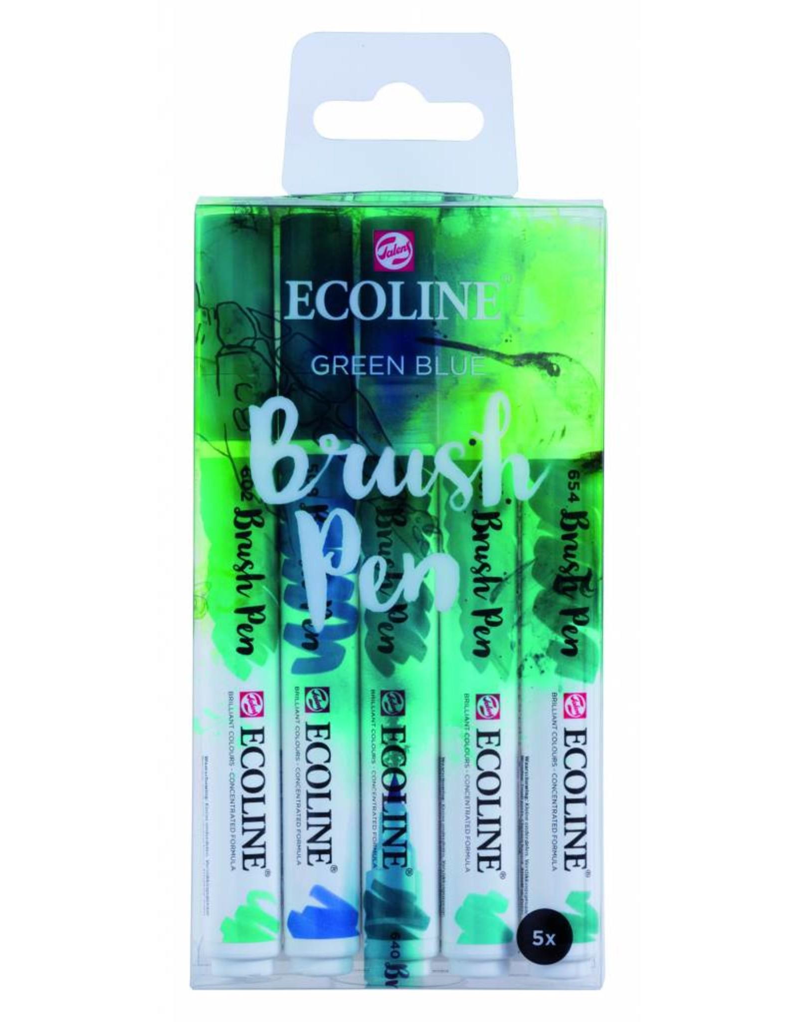 Ecoline brushpen set groen blauw
