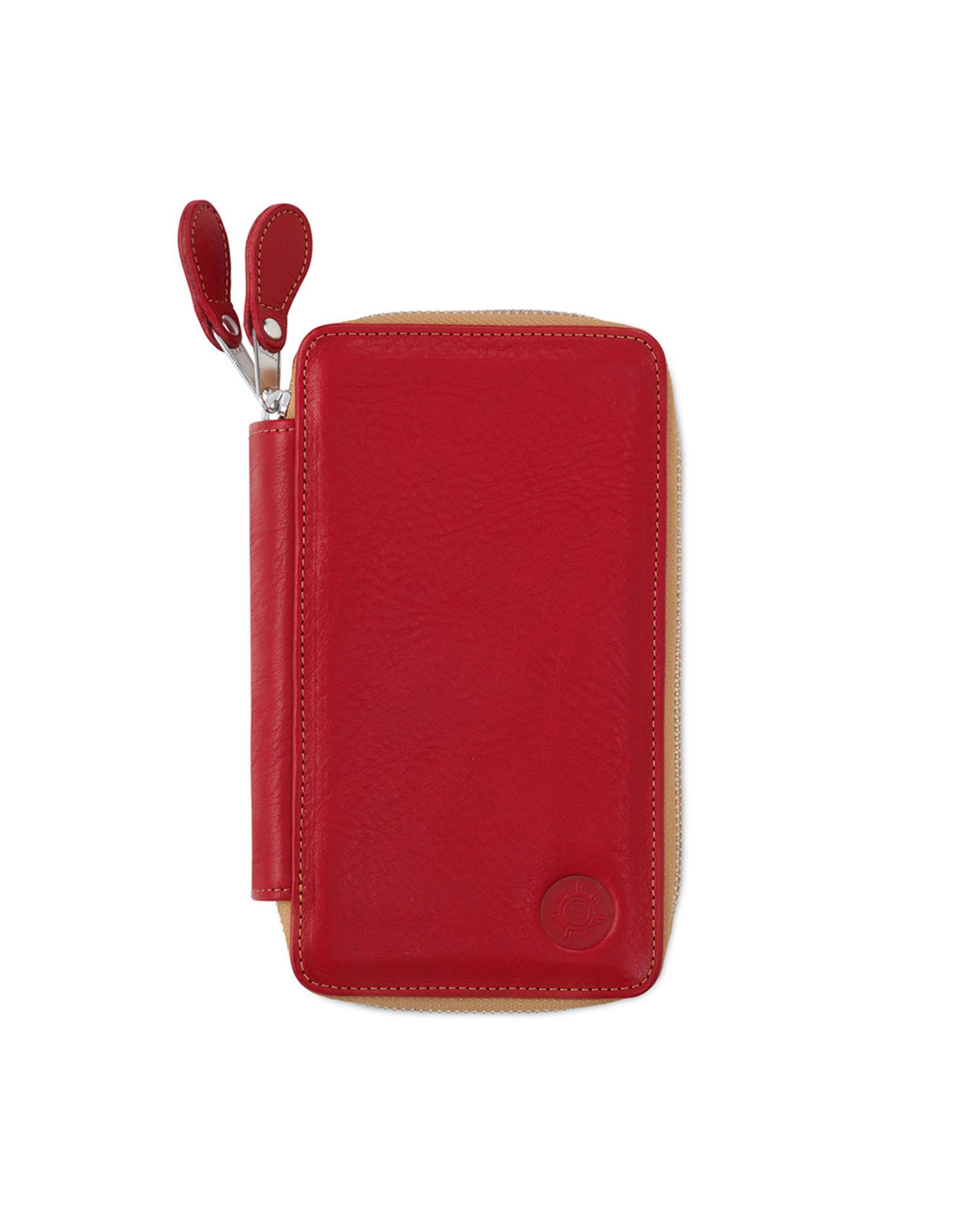Lederen pennenzak rood