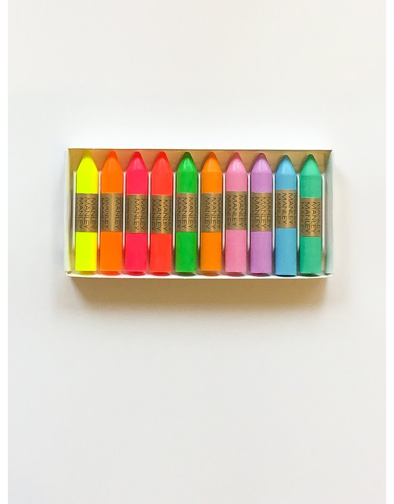 Manley Fluo & pastel wax crayons