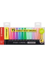 Stabilo Boss set 15 fluo + pastel + deskset