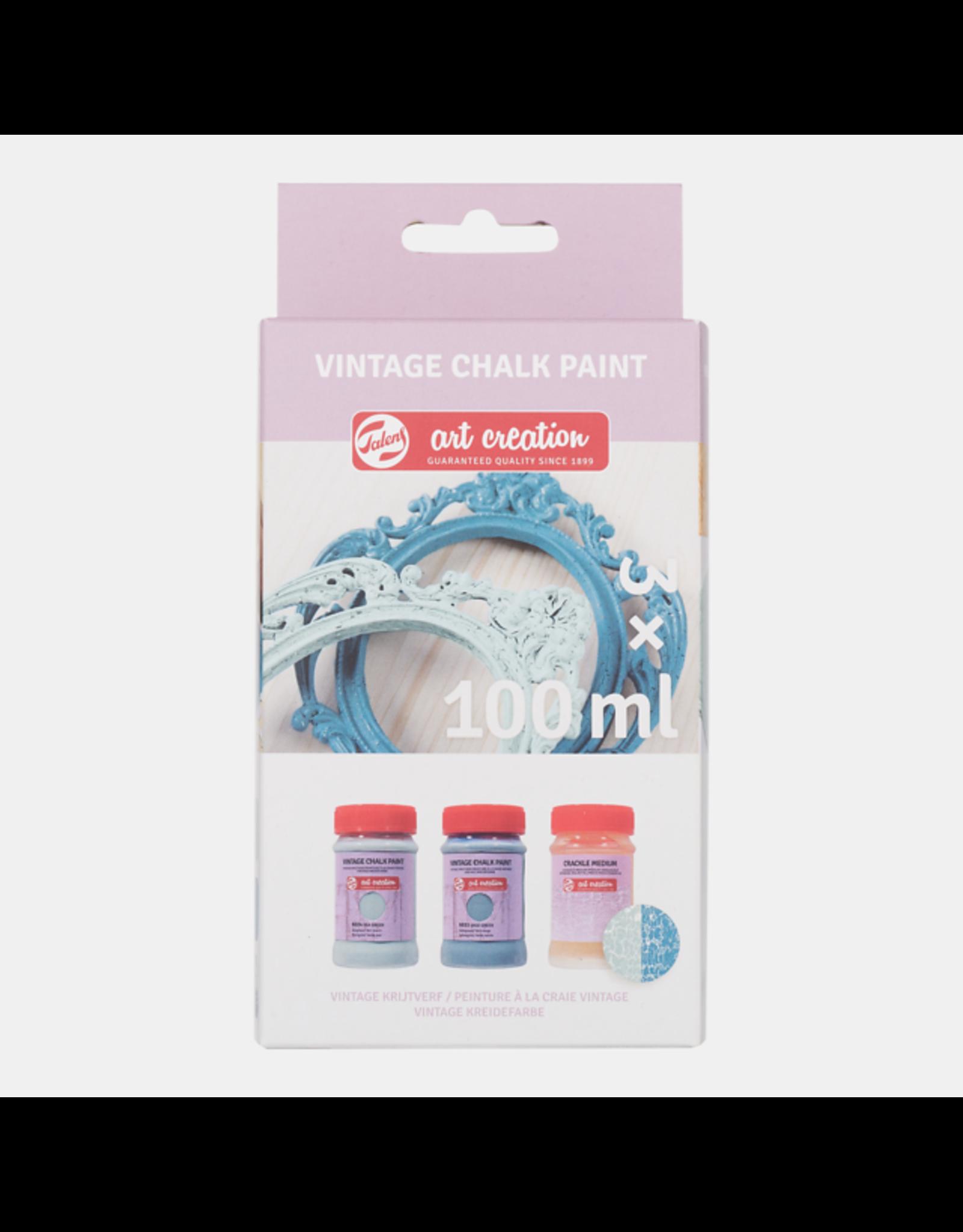 Art creation 2 x 100 ml blauwen + craquelé - Vintage Chalk Paint - Set