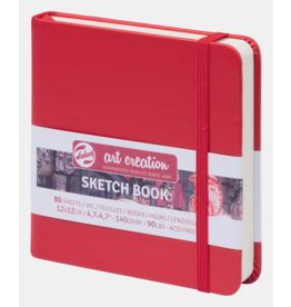 Sketch book rood 12x12cm