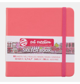 Sketch book coral red 12x12cm