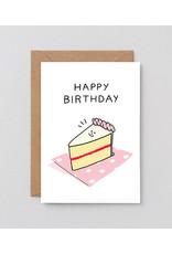 Happy birthday cake slice