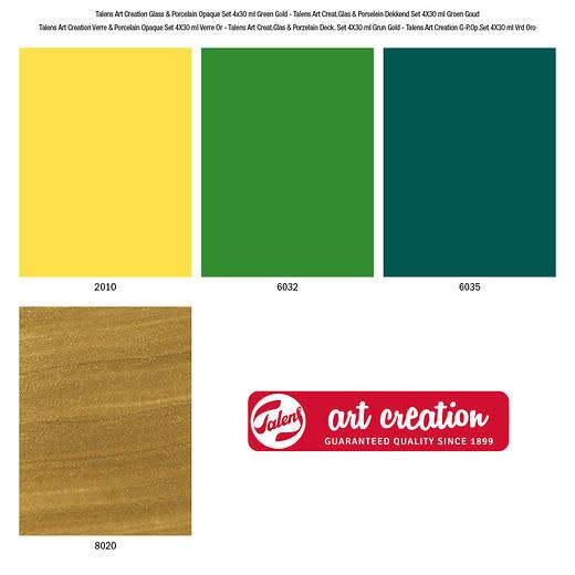 Art creation 4 x 30ml Groen goud - Glass & Porcelain Opaque - Set