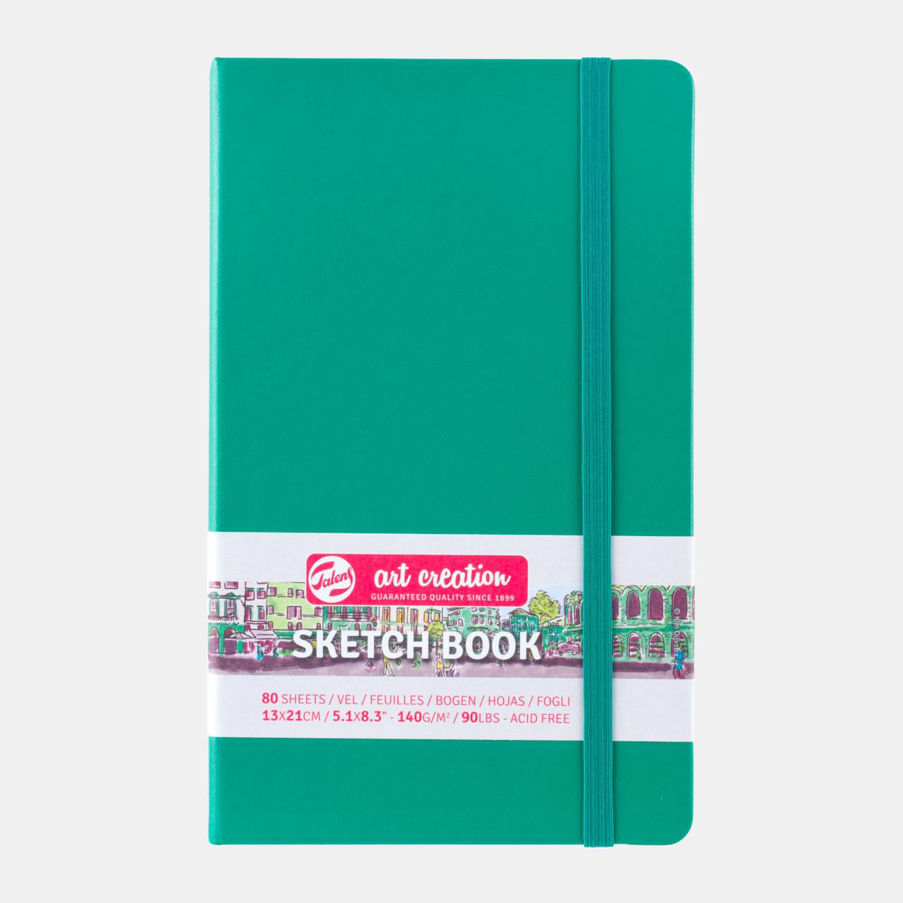 Sketch book green 13x21cm