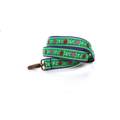 The Winged Wolf Bohemian Dog Leash - Green