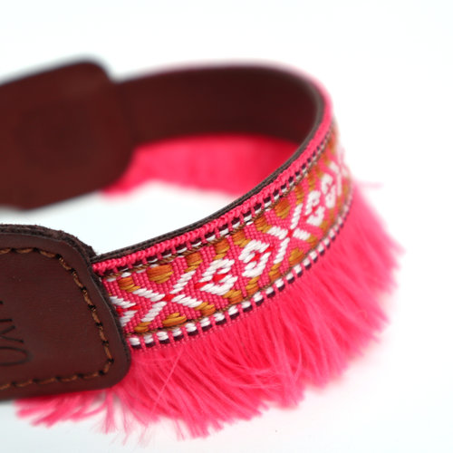 XUXO Collar pink with fringes - S