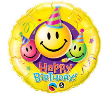 Qualatex Heliumballon Happy Birthday Smileys