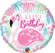 Qualatex Heliumballon Happy Birthday Flamingo