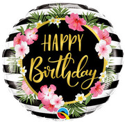 Qualatex Heliumballon Happy Birthday Tropical Flowers