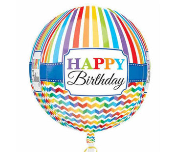 Qualatex Heliumballon Rond Happy Birthday Stripes
