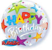 Qualatex Heliumballon Bubbles Birthday Stars