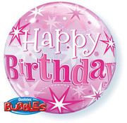 Qualatex Heliumballon Bubbles Birthday Pink Stars