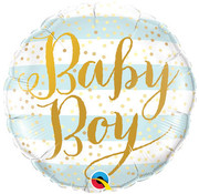 Qualatex Heliumballon Baby Boy Strepen