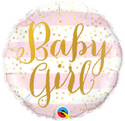 Qualatex Heliumballon Baby Girl Strepen