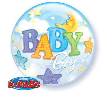 Qualatex Heliumballon Bubbles Baby Boy Moon