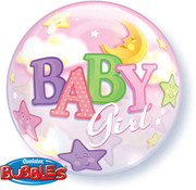 Qualatex Heliumballon Bubbles Baby Girl Moon