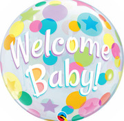 Qualatex Heliumballon Bubbles Welcome Baby Stippen