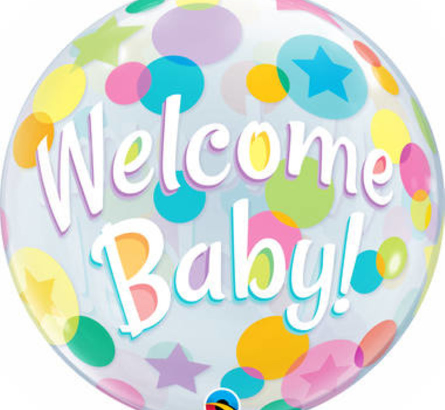 Heliumballon Bubbles Welcome Baby Stippen