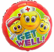 Folat Heliumballon  Emoticon Get Well Soon