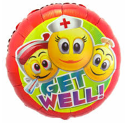 Folat Heliumballon  Zuster Emoticon Get Well Soon
