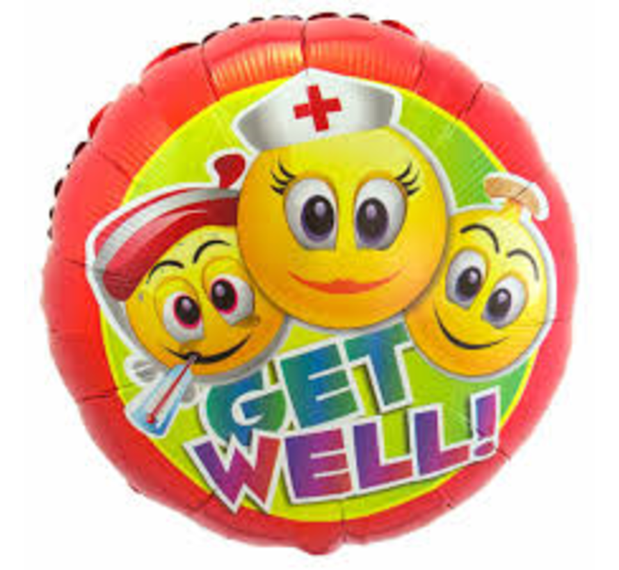 Heliumballon  Zuster Emoticon Get Well Soon