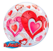 Qualatex Heliumballon Bubbles Rode Hartjes