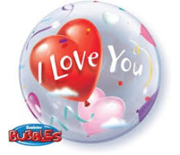Qualatex Heliumballon Bubbles I Love You Hartjes