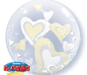 Qualatex Heliumballon Dubble Bubbles Witte Hartjes 3D