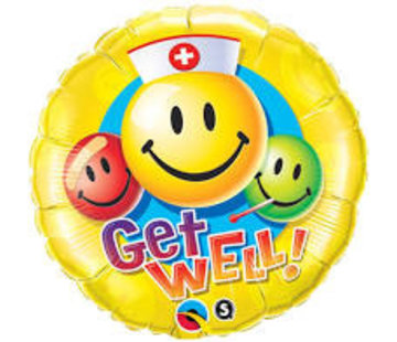 Qualatex Heliumballon  Verpleger Emoticon Get Well Soon