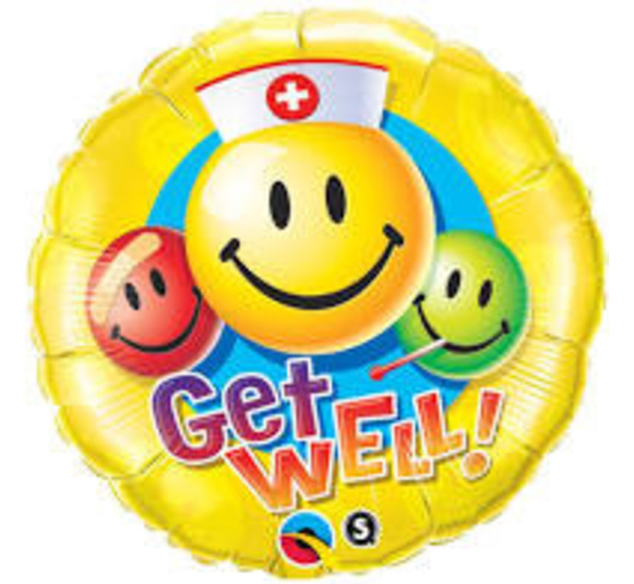 Heliumballon  Verpleger Emoticon Get Well Soon
